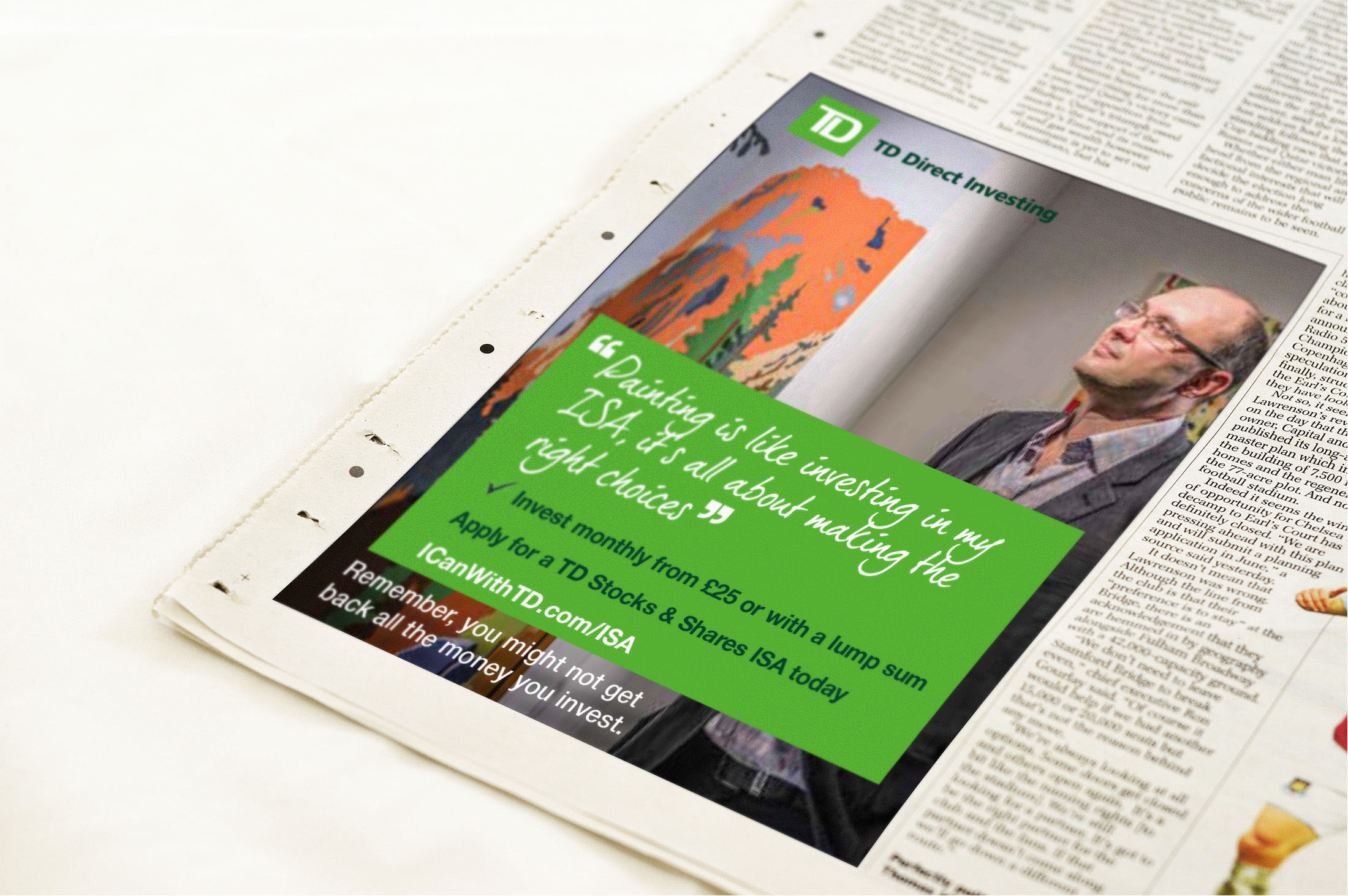 TD Direct Investing quarter page ads