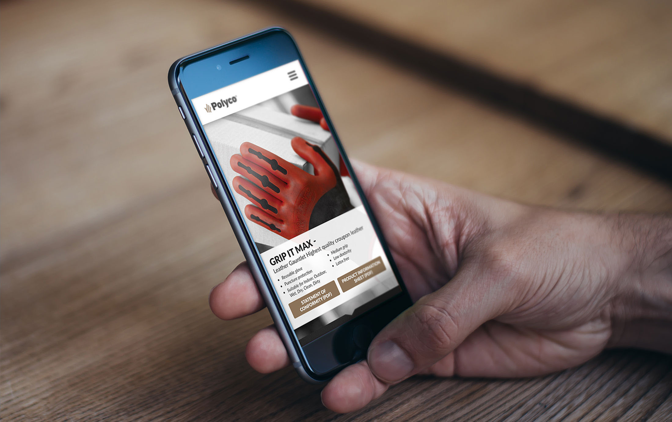 Polyco gloves mobile website